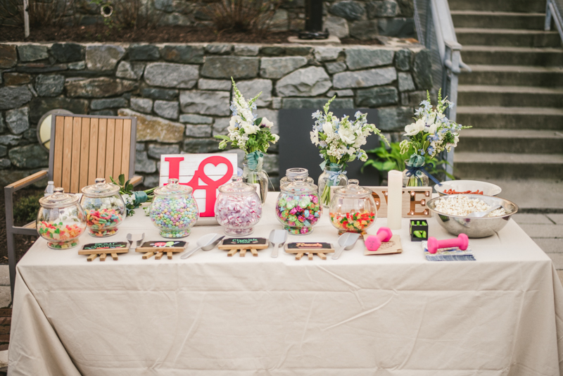 Industrial chic April wedding after party sweet table in Baltimore City at Union Mill Apartments by Britney Clause Photography