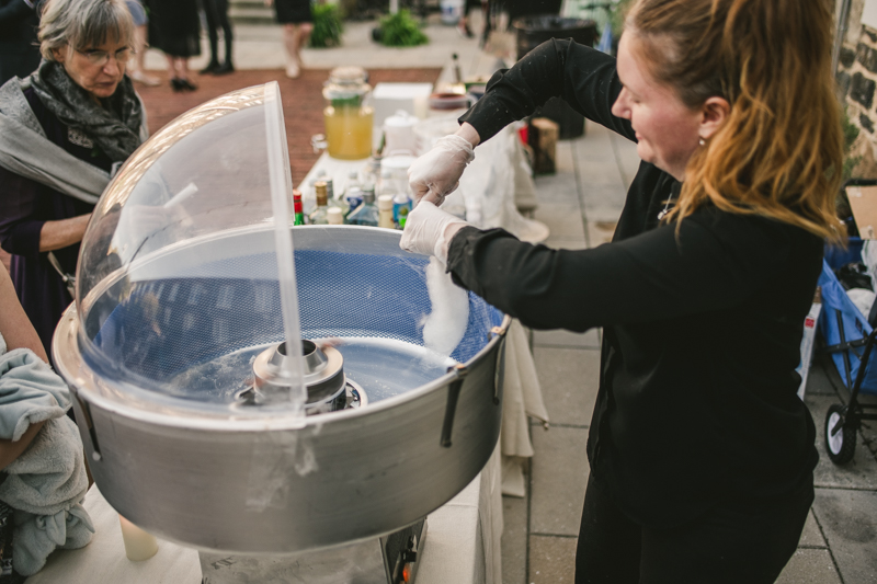 Industrial chic April wedding after party cotton candy by Cheers and Beers in Baltimore City at Union Mill Apartments by Britney Clause Photography
