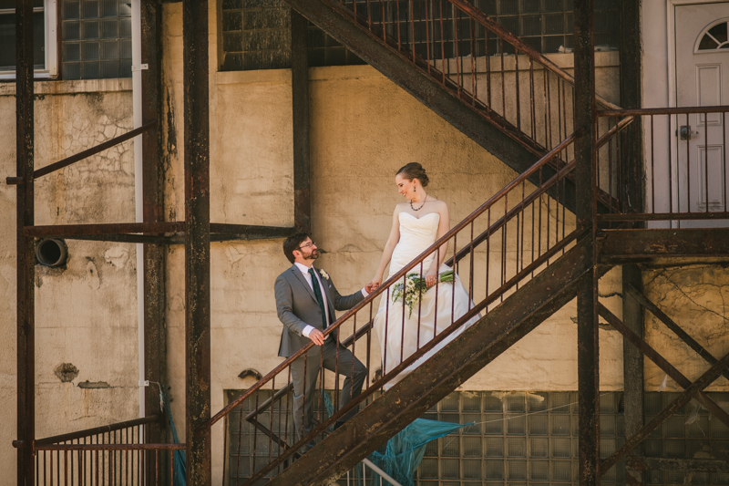 Industrial chic April wedding in Baltimore City Clipper Mill by Britney Clause Photography