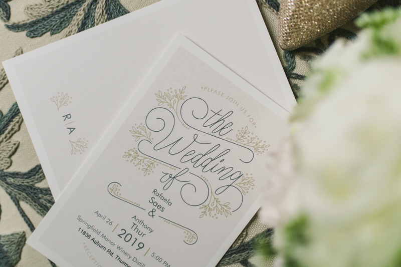 A beautiful stormy April wedding at Springfield Manor in Thurmont Maryland wedding invitation from Vista Print