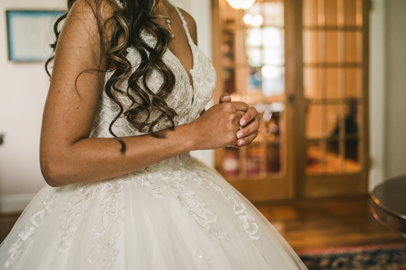 A beautiful stormy April wedding at Springfield Manor in Thurmont Maryland stunning bridal details