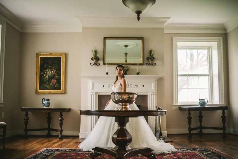 A beautiful stormy April wedding at Springfield Manor in Thurmont Maryland stunning bridal portrait in main parlor
