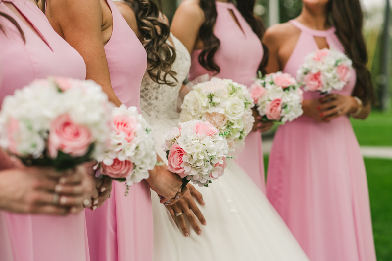 A beautiful stormy April wedding at Springfield Manor in Thurmont Maryland pink bridesmaids dresses from Azazie with DIY bouquets