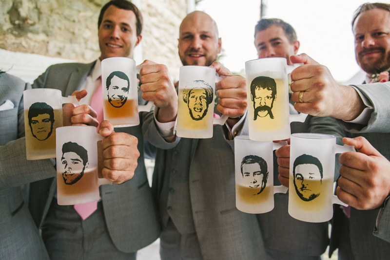 A beautiful stormy April wedding at Springfield Manor in Thurmont Maryland groomsmen with custom beer stein gifts from Etsy