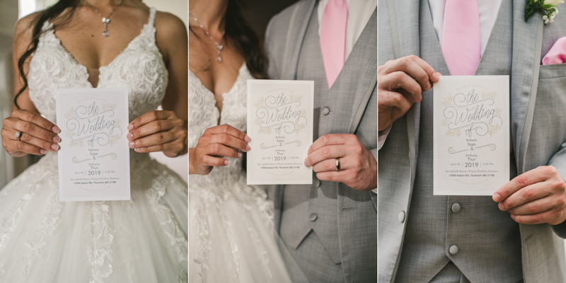A beautiful stormy April wedding at Springfield Manor in Thurmont Maryland invitations from Vista Print