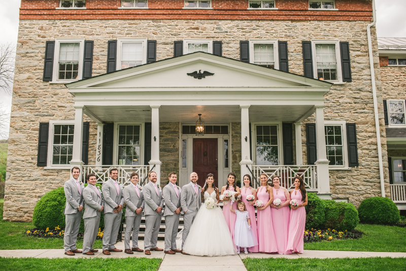 A beautiful stormy April wedding at Springfield Manor in Thurmont Maryland bridal party groups taken in front of the manor