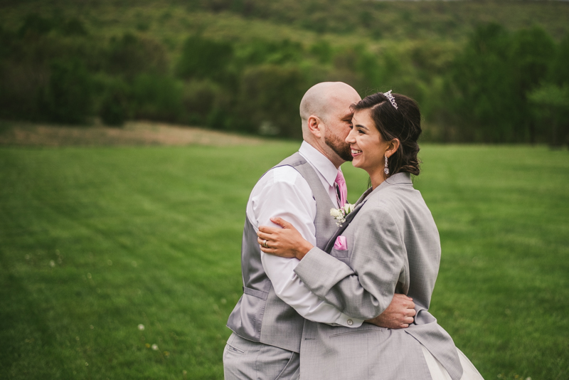A beautiful stormy April wedding at Springfield Manor in Thurmont Maryland bride and groom portraits