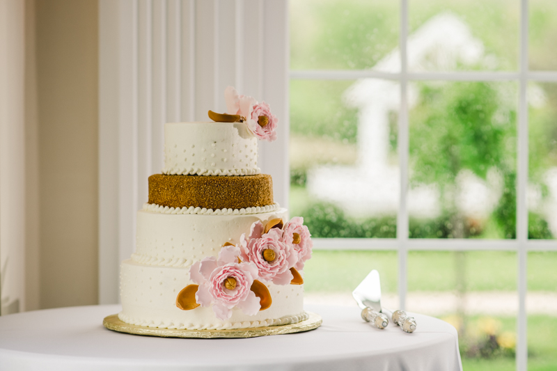 A beautiful stormy April wedding reception wedding cake from Cakes and Confections at Springfield Manor in Thurmont Maryland