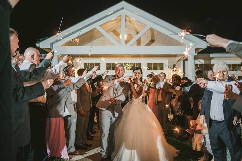 A beautiful stormy April wedding reception at Springfield Manor in Thurmont Maryland  with a sparkler sendoff to end the night