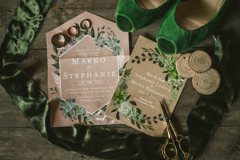 Gorgeous summer wedding stationery by Minted at Rocklands Farm Winery in Poolesville, Maryland by Britney Clause Photography a husband and wife wedding photographer team in Maryland
