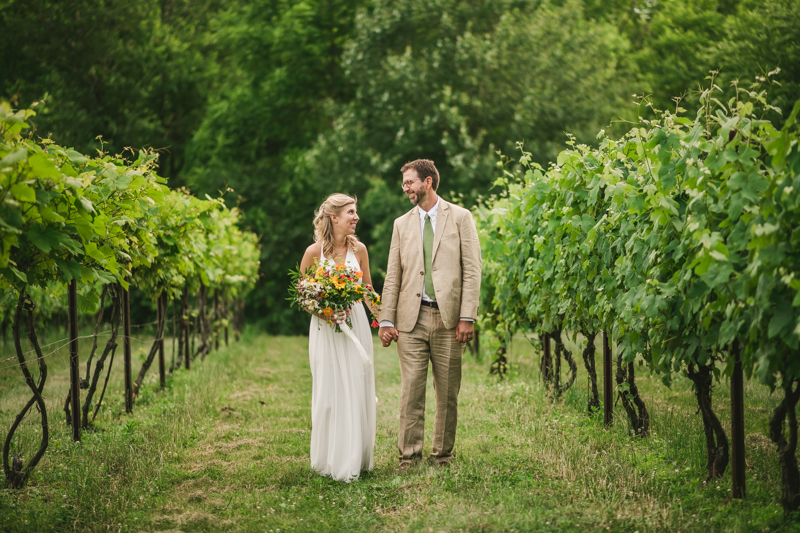 Gorgeous summer wedding bride and groom portraits at Rocklands Farm Winery in Poolesville, Maryland by Britney Clause Photography a husband and wife wedding photographer team in Maryland