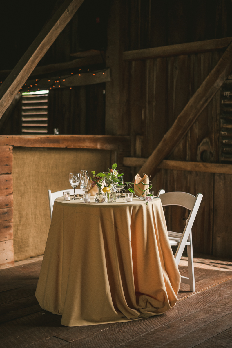 Gorgeous summer wedding reception details at Rocklands Farm Winery in Poolesville, Maryland by Britney Clause Photography a husband and wife wedding photographer team in Maryland