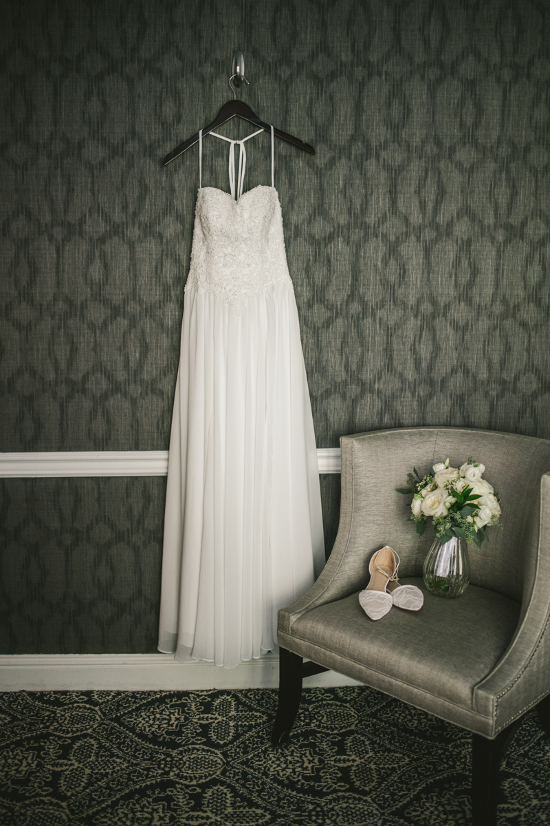 A beautiful July wedding dress from David's Bridal in Annapolis, by Britney Clause Photography, wedding photographers in Maryland