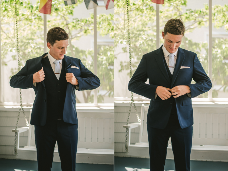 A groom getting ready for his wedding at an AirBnB in Annapolis by Britney Clause Photography, wedding photographers in Maryland