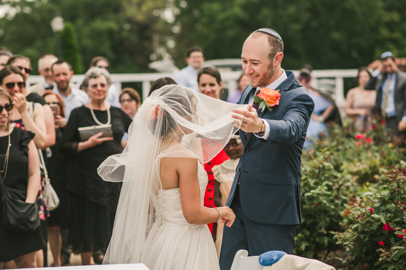 A gorgeous traditional Jewish summer wedding ceremony at Dulany's Overlook in Frederick Maryland by Britney Clause Photography, wedding photographers in Maryland.
