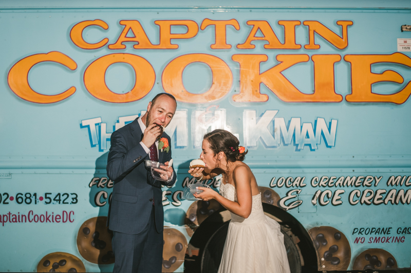 Gorgeous summer wedding dessert by Captain Cookie food truck at Dulany's Overlook in Frederick Maryland by Britney Clause Photography, wedding photographers in Maryland.