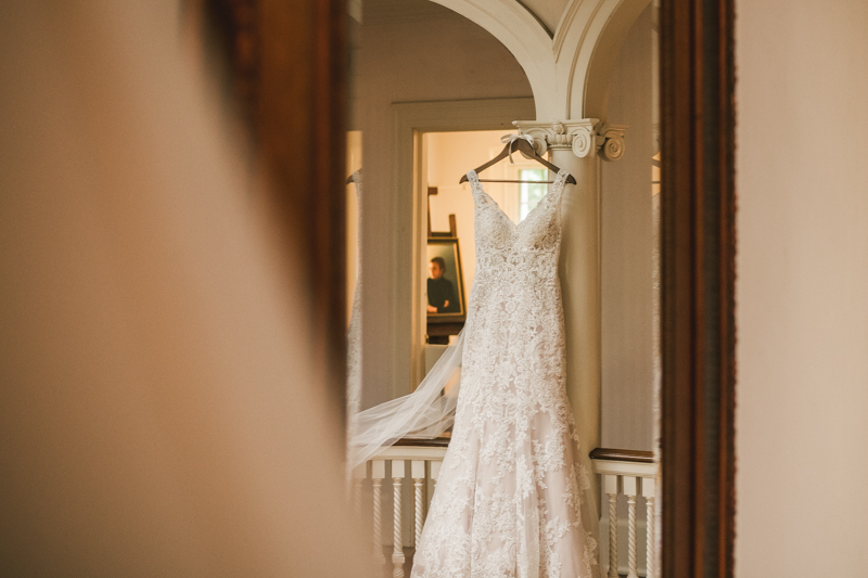 A gorgeous wedding dress from Cameo Bridal Salon at Liriodendron Mansion in Bel Air, Maryland by Britney Clause Photography