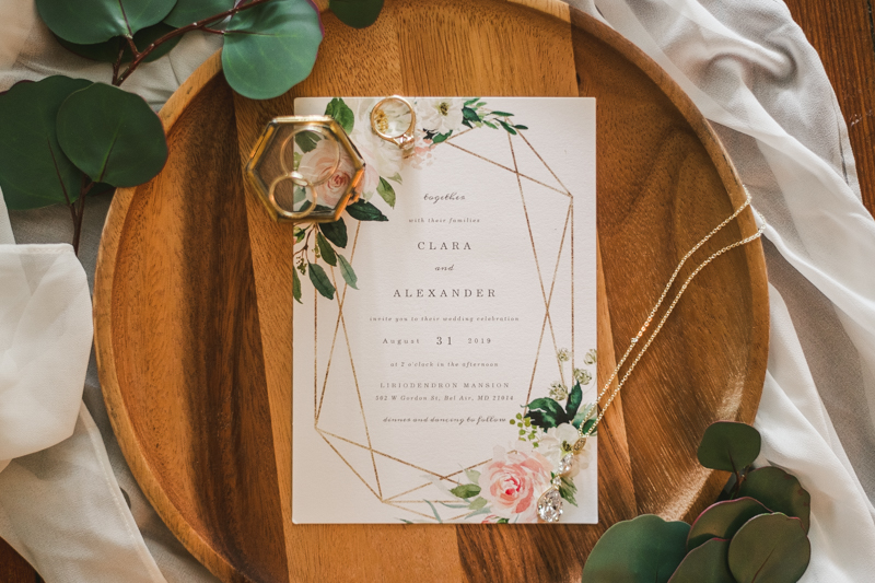 A gorgeous August wedding invitation suite from Zazzle at Liriodendron Mansion in Bel Air, Maryland by Britney Clause Photography