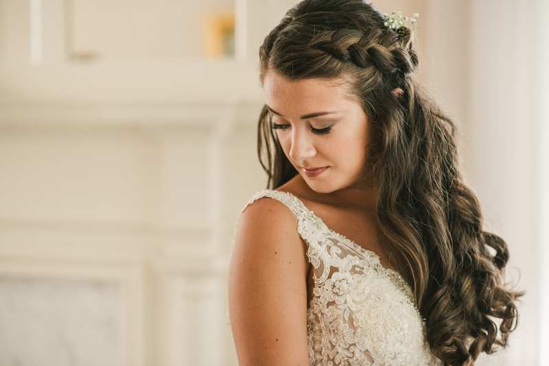Gorgeous bridal hair and makeup by Pins-n-Brushes at a wedding at Liriodendron Mansion in Bel Air, Maryland by Britney Clause Photography