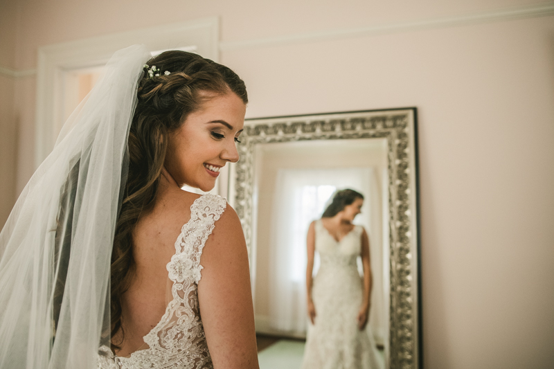 A gorgeous bride in the bridal suite at Liriodendron Mansion in Bel Air, Maryland by Britney Clause Photography
