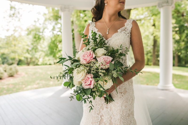 Gorgeous bridal bouquet from Clarksville Flower Station at a wedding at Liriodendron Mansion in Bel Air, Maryland by Britney Clause Photography