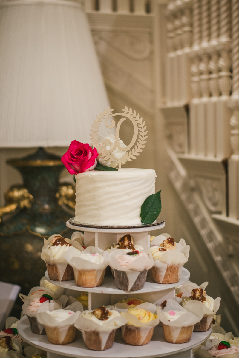 A gorgeous August wedding cake from Iced Gems at Liriodendron Mansion in Bel Air, Maryland by Britney Clause Photography