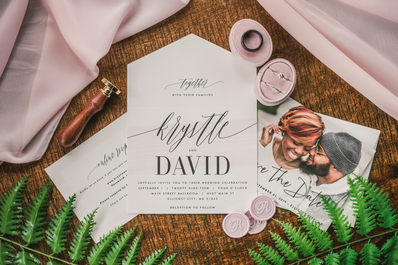 Beautiful Minted wedding invitation at Main Street Ballroom in Ellicott City by Britney Clause Photography