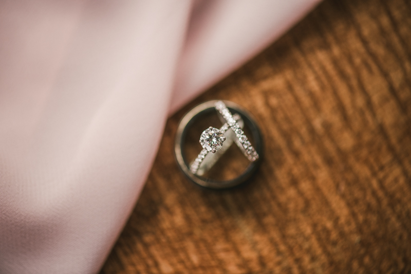 Beautiful wedding ring set at Main Street Ballroom in Ellicott City by Britney Clause Photography