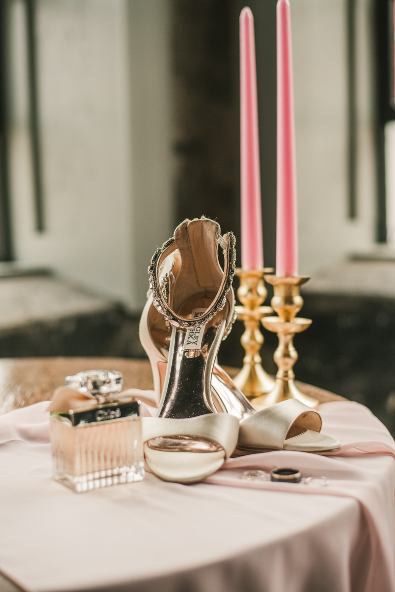 Beautiful Badgley Mischka Collection wedding shoes at Main Street Ballroom in Ellicott City by Britney Clause Photography
