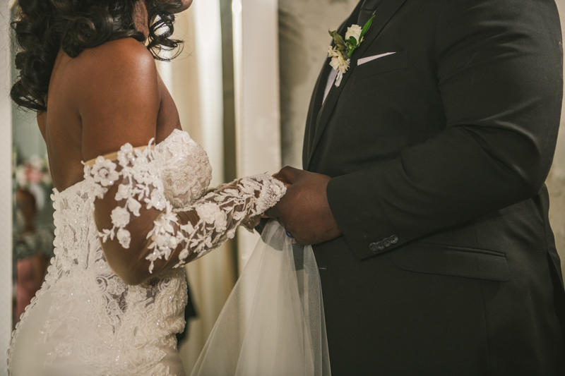 Beautiful bride in the Main Street Ballroom bridal suite in Ellicott City by Britney Clause Photography