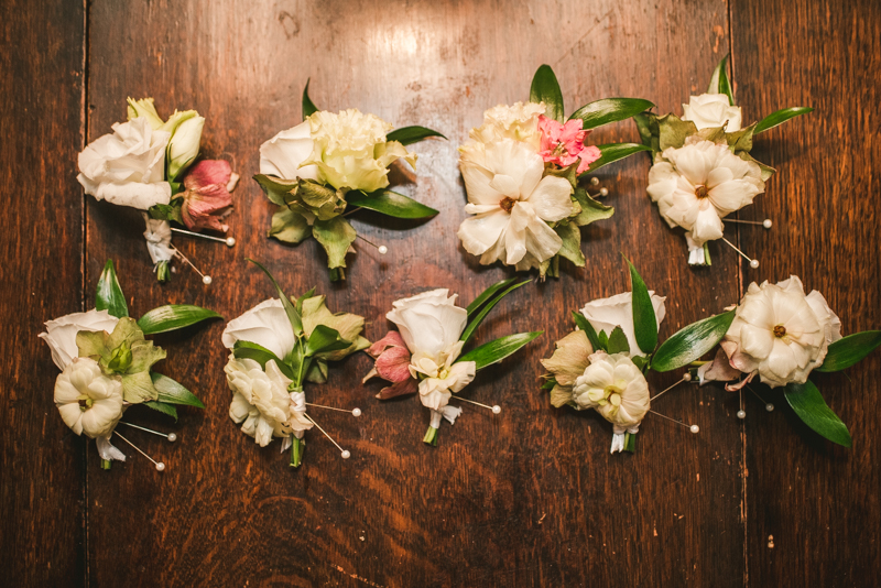 Beautiful boutonniere from Flor de Casa at Main Street Ballroom in Ellicott City by Britney Clause Photography