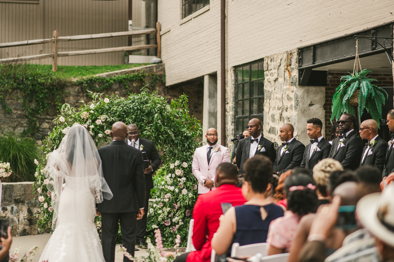 Beautiful wedding ceremony at Main Street Ballroom in Ellicott City by Britney Clause Photography