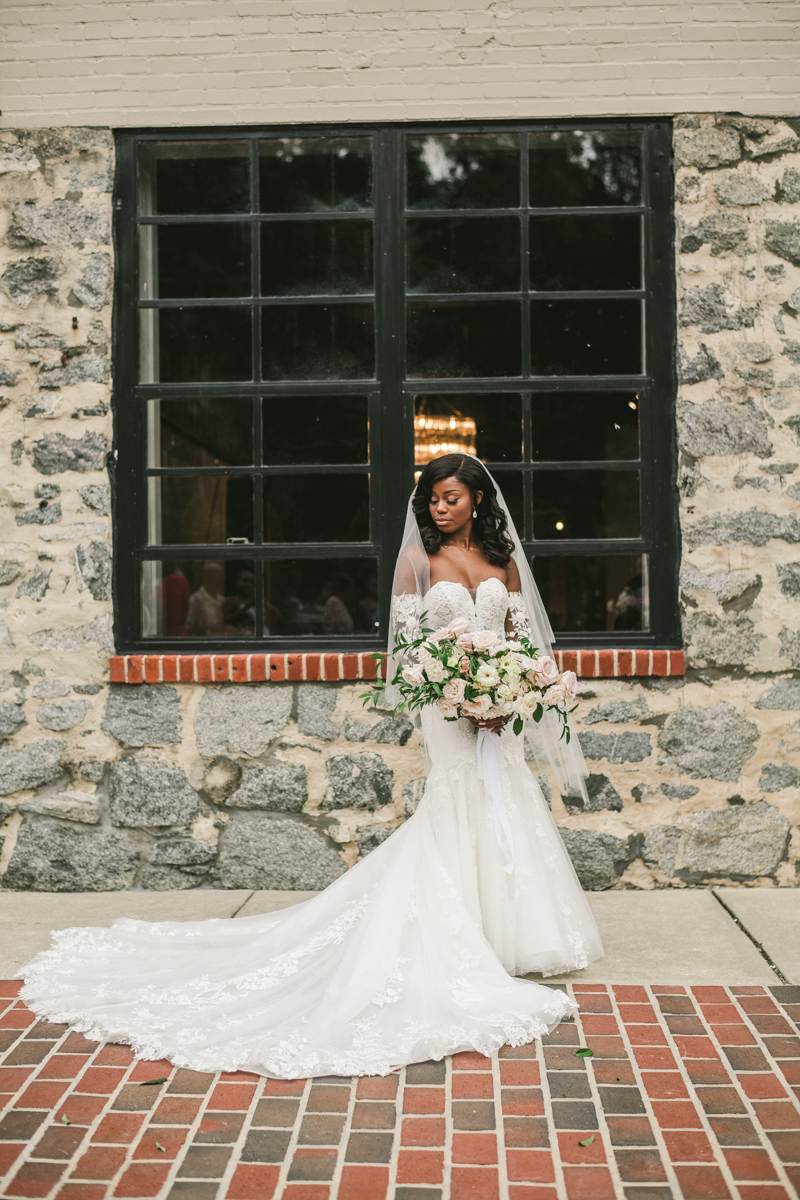 Beautiful wedding bridal portrait at Main Street Ballroom in Ellicott City by Britney Clause Photography
