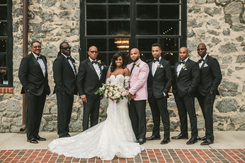 Beautiful wedding bridal party at Main Street Ballroom in Ellicott City by Britney Clause Photography