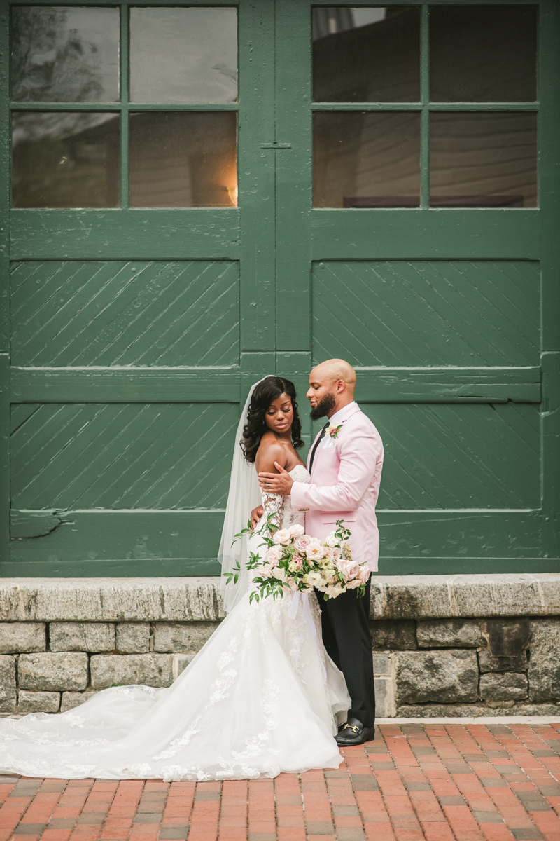 Beautiful wedding just married portraits at Main Street Ballroom in Ellicott City by Britney Clause Photography