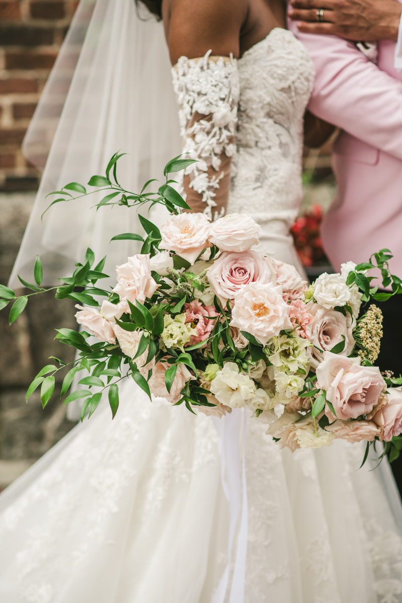 Beautiful bridal bouquets from Flor de Casa at Main Street Ballroom in Ellicott City by Britney Clause Photography