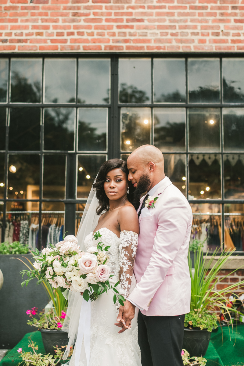Beautiful wedding just married portraits at Main Street Ballroom in Ellicott City outside Sweet Elizabeth Jane by Britney Clause Photography