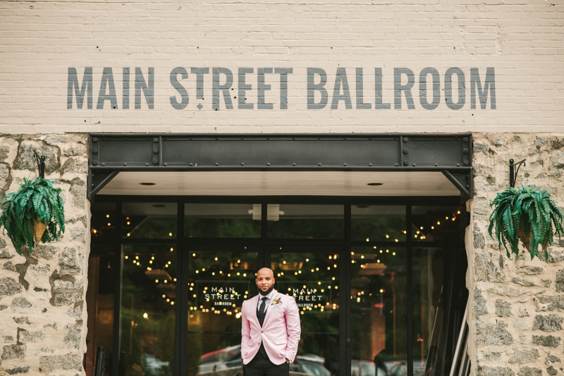 Beautiful wedding groom portrait at Main Street Ballroom in Ellicott City by Britney Clause Photography