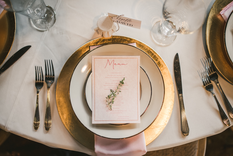 Beautiful wedding reception details at Main Street Ballroom in Ellicott City by Britney Clause Photography