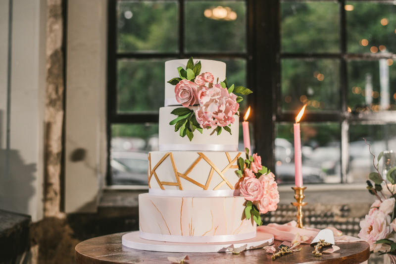 Beautiful wedding cake from Charm City Cakes at Main Street Ballroom in Ellicott City by Britney Clause Photography