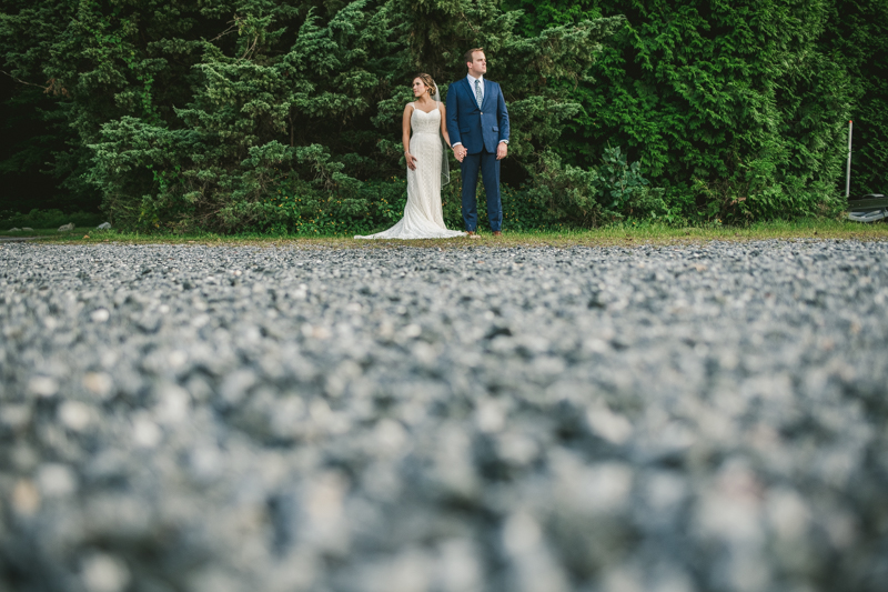 Beautiful wedding just married portraits at Sherwood Forest Clubhouse in Annapolis, Maryland by Britney Clause Photography