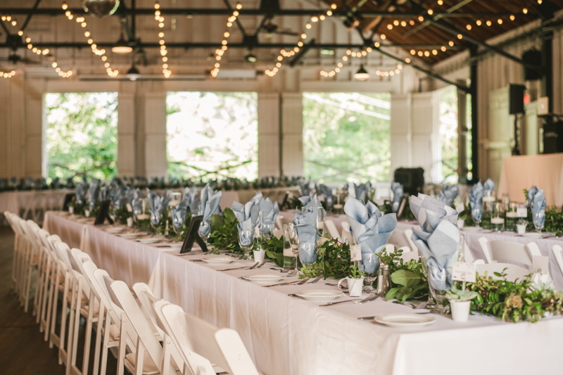 A beautiful September wedding reception setup by Wedding Savvy Inc at the Sherwood Forest Clubhouse in Annapolis, Maryland by Britney Clause Photography