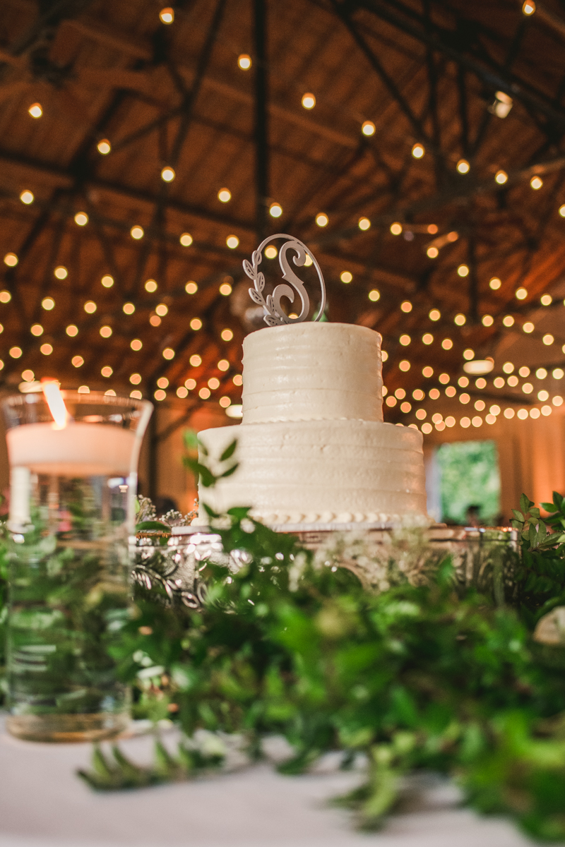 A beautiful September wedding reception cake by Atlantic Catering at the Sherwood Forest Clubhouse in Annapolis, Maryland by Britney Clause Photography