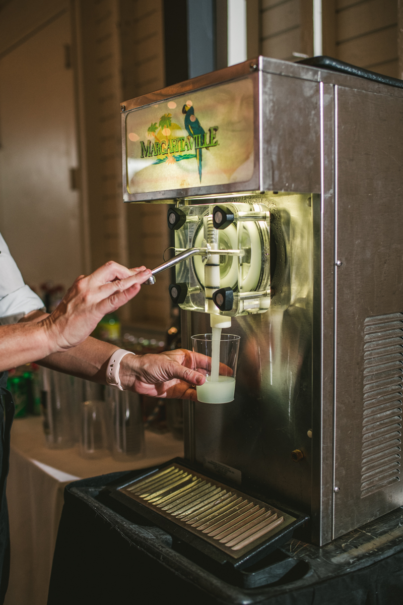 Wedding margarita machine from Tiki Time Tropical Treats at the Sherwood Forest Clubhouse in Annapolis, Maryland by Britney Clause Photography