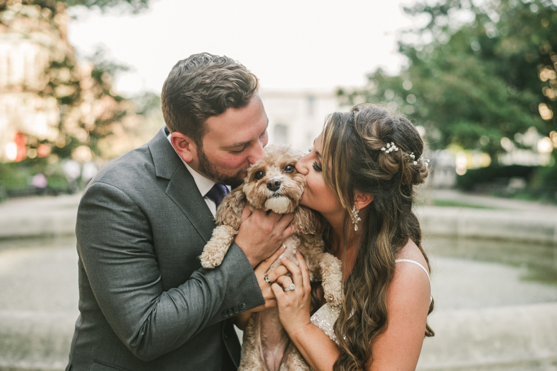 Beautiful bride and groom portraits in Mount Vernon, Maryland at the George Peabody Library by Britney Clause Photography