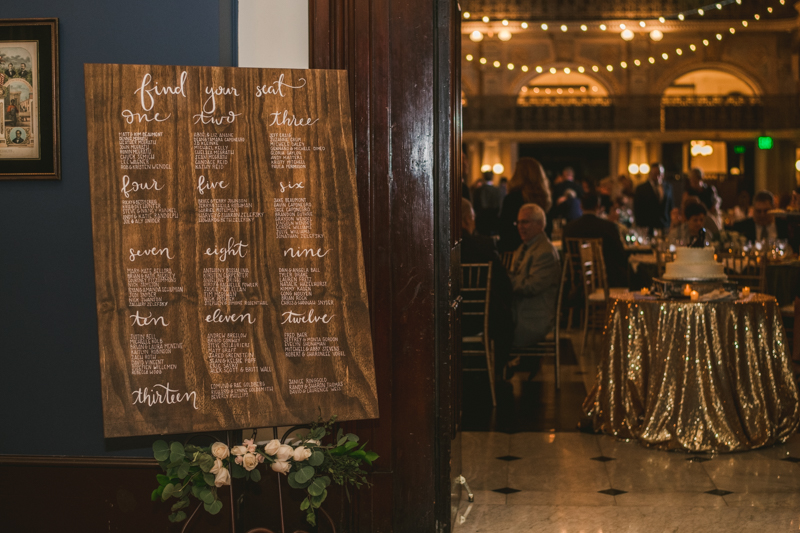 Custom seating chart by The Suite Spot at the George Peabody Library in Baltimore, Maryland by Britney Clause Photography