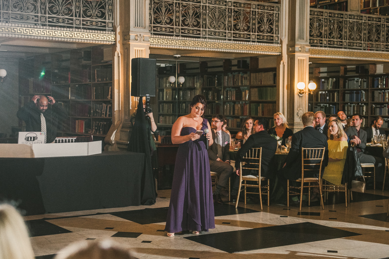 A gorgeous wedding reception at the George Peabody Library in Baltimore, Maryland by Britney Clause Photography