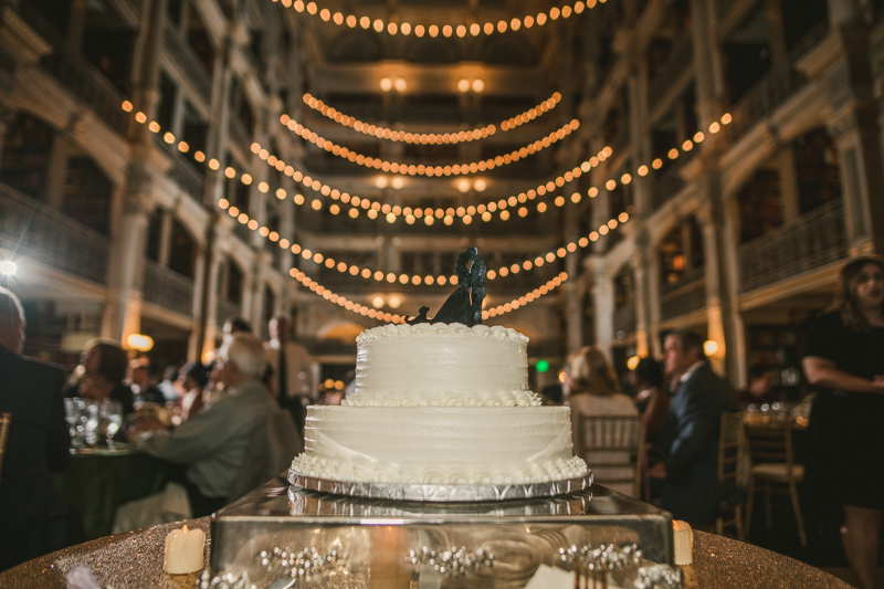 A delicious wedding cake by Classic Catering at George Peabody Library in Mount Vernon, Maryland by Britney Clause Photography