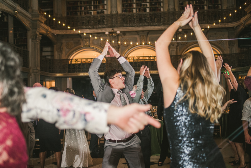 A gorgeous and fun wedding reception at the George Peabody Library in Baltimore, Maryland by Britney Clause Photography