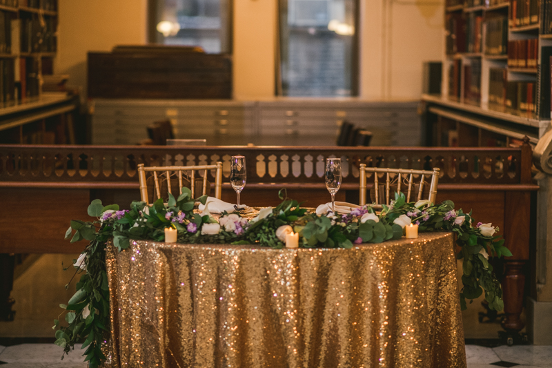 Beautiful wedding coordination by Olive You Events at George Peabody Library in Mount Vernon, Maryland by Britney Clause Photography